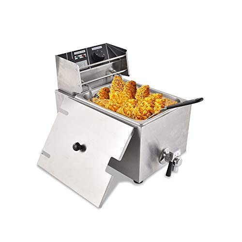 TOHUU Commercial Deep Fryer, 8.5QT/8L Stainless Steel Electric Deep Fryer with Basket and Temperature Limiter for Restaurant Kitchen, 1 Tank 1800W