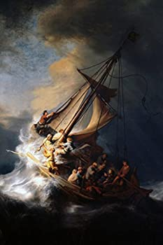 Rembrandt Jesus Christ in The Storm On The Sea of Galilee Ship Boat Ocean Oil Canvas Painting 1633 Cool Wall Decor Art Print Poster 12x18