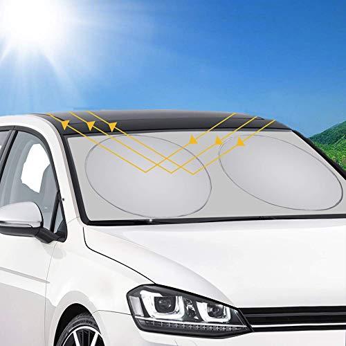 runhua Parasol para Parabrisa, parasoles de Coche Auto Frontal Parabrisas, Protector Resistente a los Rayos UV, Apto a la Mayor¨ªa de Coches y Suvs (150x70CM) 22