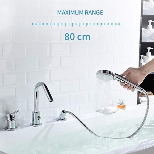 CREA Tub Faucet Bathtub Faucet Set, 3-Hole Deck-Mount Pull Out Bathtub Faucet with Hand Shower Tub Spout Diverter
