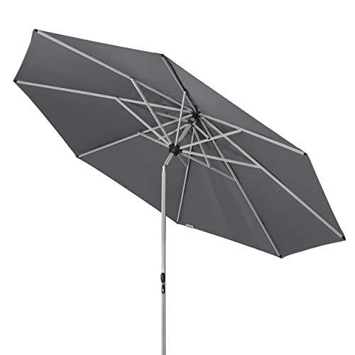 Doppler Active TELESKOP – Innovativer Sonnenschirm ideal für Terrasse und Garten – Knickbar – ca. 340 cm – Anthrazit