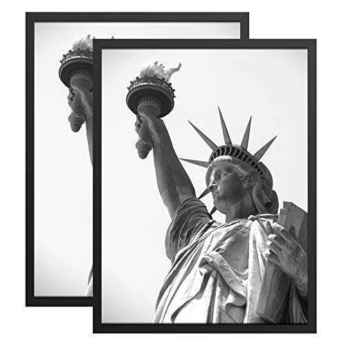 ONE WALL Tempered Glass 18x24 Poster Frame, Black Wood Photo Picture Frame Set of 2 for Wall Vertically or Horizontally Display - Mounting Hardware Included