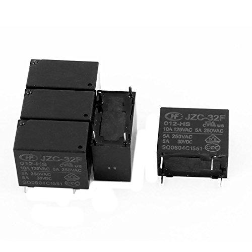 IIVVERR 5 Pcs 12VDC 250VAC 5A 4 Terminal SPST NO JZC-32F-012-HS Power Relay (5 Unids 12VDC 250VAC 5A 4 Terminal SPST NO JZC-32F-012-HS Power Relay