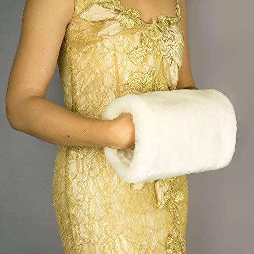 Manguito calientamanos piel sintetica marfil o blanco, negro novia boda