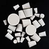 26 Pack Solid Rubber Stopper, White Lab Plug, 000# - 8# Sizes Assortment, 11 Assorted Size...