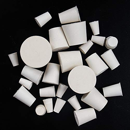 26 Pack Solid Rubber Stopper, White Lab Plug, 000# - 8# Sizes Assortment, 11 Assorted Sizes