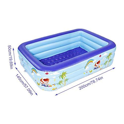 Piscina hinchable para niños, rectangular hinchable (3 anillos círculos), piscina gruesa y segura para fiestas de agua de verano, piscina para bebés de agua, varios tamaños