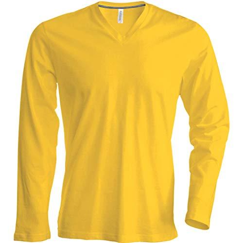 Kariban T-Shirt COL V Manches Longues - Oxford Grey, XXL, Homme