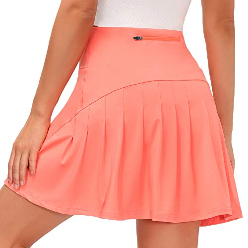 Yidarton Tennis Pleated Skirt for Women with Pockets Quick Dry Lightweight Skirt with Athletic Golf Skorts Running Outwork Sport Skirt (XL,Pink)