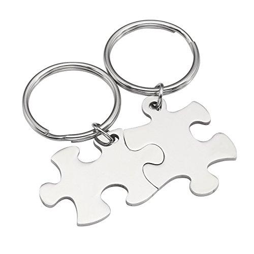 BOPREINA 2X Edelstahl 33*22mm Zwei Puzzle Schlüsselanhänger Partner Paare Liebe Freundschaft Schlüsselbund Schlüsselring Keychain