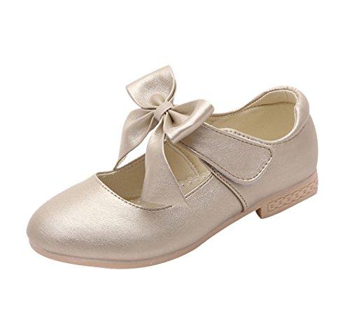 La Vogue Zapatos Zapatilla con Lazo para Niña Princesa Fiesta Dorado Color Talla 35
