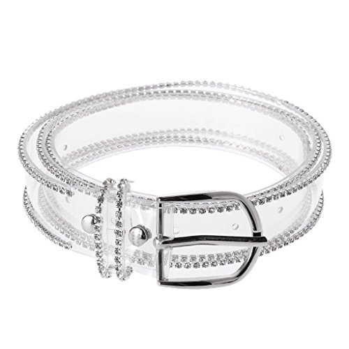 lamdoo Fashion Frauen Transparent Taille Gürtel Strass Dekoration Streetwear Casual New Silber