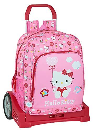 Safta Mochila Escolar con Carro Evolution Incluido de Hello Kitty Balloon, 310x140x410mm