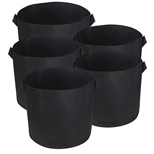 BELLE VOUS Bolsa de Cultivo (Paquete de 5) - 76 litros / 20 galones Maceta de Cultivo - Transpirables Macetas de Geotextil para Orgánico de Vegetales, Flores y Plantas - Geotextil Cultivo