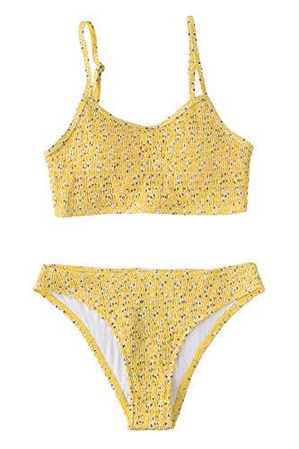 CUPSHE Conjunto de Bikini Fruncido Tanga Traje de Baño de Dos Piezas, XS