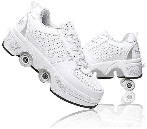 shoes with wheels for adults LDTXH Multifunctional Roller Skates Shoes Deformation Automatic Walking Shoes with Double-Row Deform Wheel Adult Children's Skating Shoes,7