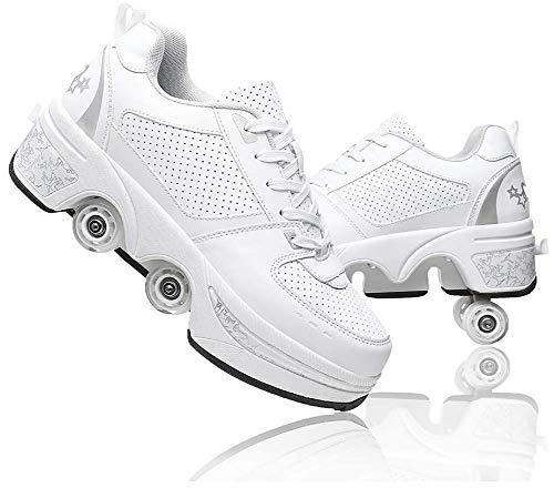 LDTXH Doble Rodillo Zapatos De Skate Zapatos Invisible De Polea De Zapatos Zapatillas De Deporte Luz Zapatos Zapatos Multiusos, niños Zapatos con Ruedas,37