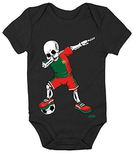 HARIZ Baby Body Kurzarm Fussball Dab Skelett Portugal Land Trikot Inkl. Geschenk Karte Pinguin Schwarz 3-6 Monate
