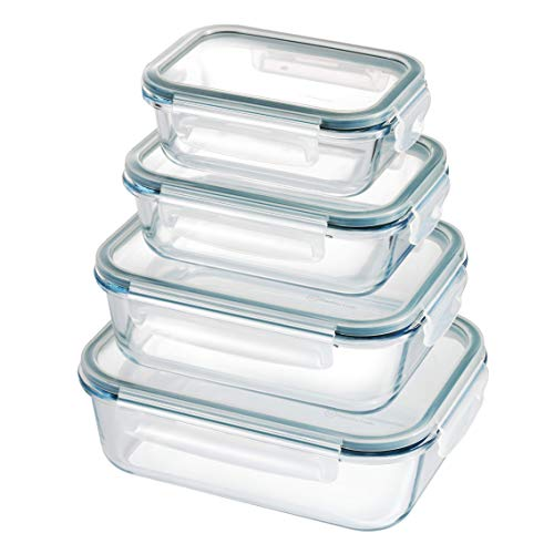 Franklin Lade 4 Piece Nesting Glass Food Storage Container Set | BPA-Free Leak-Proof Lids + 4 Spare Silicone Seals | Glass Food Containers with Lids | Microwave, Oven, Freezer & Dishwasher Safe
