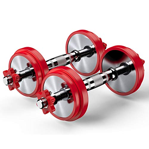 RWX Mancuernas Ajustable de Acero Puro Mancuernas de Acero Inoxidable de galvanoplastia Pesas Gimnasio Máquinas de Ejercicios con Conexión 10KG (5 kg x 2) Equipo de Ejercicio físico