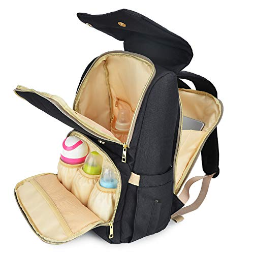 Qimiaobaby - Bolso cambiador de pañales para mamá y papá con compartimento para portátil y ganchos para cochecito negro negro Talla:11x8.5x17in