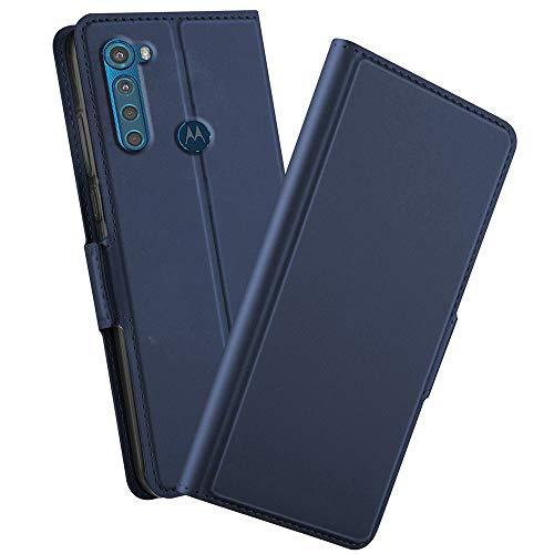 NOKOER Hülle für Motorola One Fusion Plus, PU Flip Leder Hülle with Mit Kartenfach 360 Grad Schutz Ledertasche, Leder Hülle Kompatibel mit Motorola One Fusion Plus - Blau