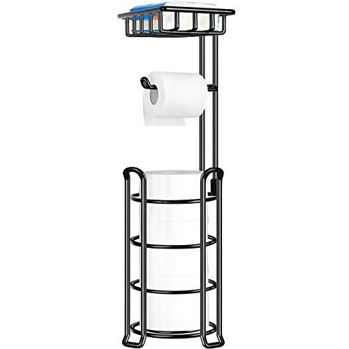 TomCare Toilet Paper Holder Toilet Paper Stand 4 Raised Feet Bathroom Accessories Portable Tissue Paper Dispenser Reserve Free Standing Toilet Paper Roll Storage Shelf Bathroom(Black)