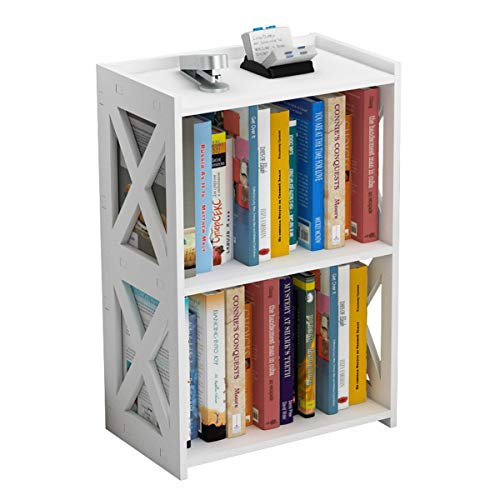 AGGICE Side Table, 3 Tier 2 Shelf Small Bookshelf Bookcase for Small Spaces, Bedside End Table Nightstand, Kids Book Storage Shelves for Bedroom Living Room Office, White