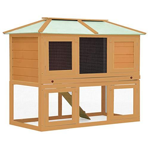Tidyard Conejera Jaula de Animales con Doble Piso de Madera Conejera de Exterior Jaula para Conejo Animales Pequeños 130 x 68 x 105 cm