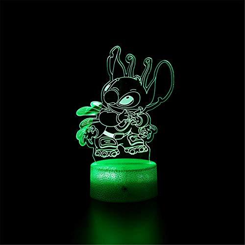 Luz de noche 3D para niños, lámpara de ilusión 3D, Lilo y Stitch E, regulable, control táctil, luz de brillo para decoración del hogar y regalos para amantes, padres, amigos, 16 colores