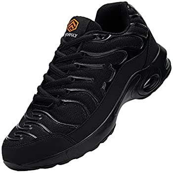 DKMILYAIR Steel Toe Shoes for Women Lightweight Air Cushion Safety Tennis Sneakers Slip Resistant Breathable Indestructible Puncture Proof Work Shoes 8 Black D91825