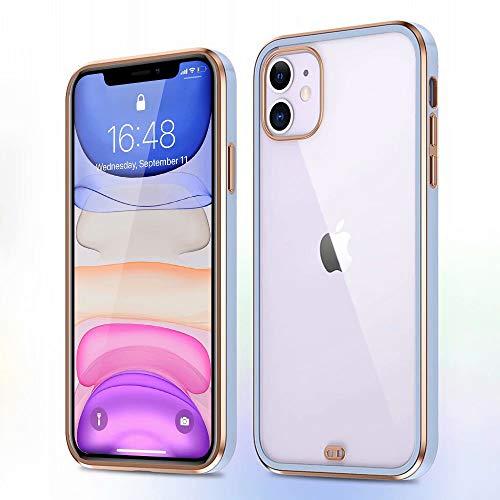 ROSEHUI Funda transparente para iPhone 7 Plus iPhone 8 Plus Transparente Ultra Fino Borde Oro Bumper Case Suave a prueba de golpes TPU Funda protectora para iPhone 7 Plus/8 Plus Morado