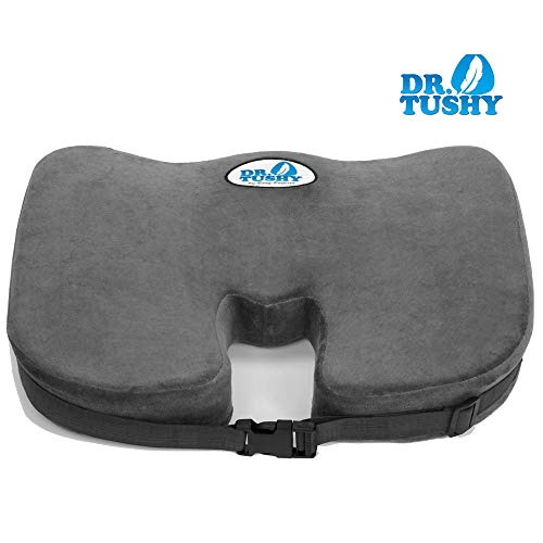 Dr. Tushy Memory Foam Seat Cushion - Coccyx Seat Cushion for Tailbone Pain - Best for Office Chair, Car Seat, Wheelchair - Helps with Sciatica & Back Pain Relief - Built in Carry Handle & Seat Straps