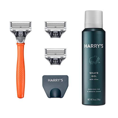 Harry's Razors for Men - Shaving Razors for Men includes a Mens Razor, 3 Razor Blade Refills, Travel Blade Cover, and 4 Oz Shave Gel (Bright Orange)