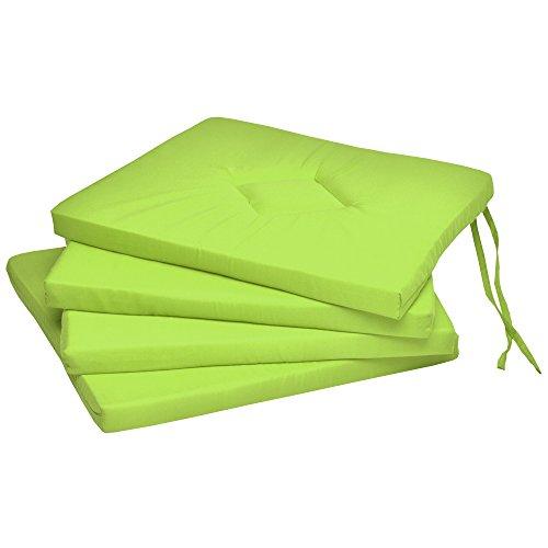 Beautissu Coussin Chaise Jardin Kim – Lot de 4 – Coussin Exterieur Jardin Confortable - Idéal pour intérieur & extérieur - 40x40x3cm Vert Pomme