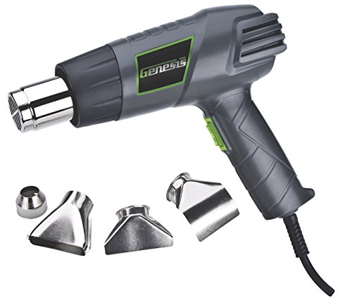 Genesis GHG1500A 12.5 Amp Dual-Temperature Heat Gun Kit with High and Low Settings, Air Reduction Nozzle, Reflector Nozzle, and Two Deflector Nozzles