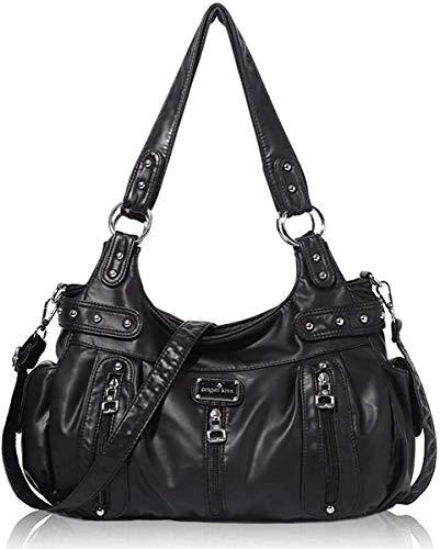 Angel Kiss Roomy Fashion Hobo Womens Handbags Ladies Purse Satchel Shoulder Bags Tote Washed Leather Bag (A-AK19244 8901#7BLACK)