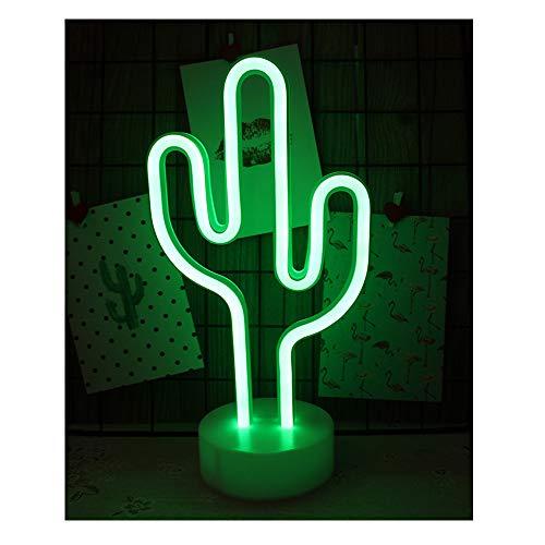 LED Nacht Licht Nacht Tisch Lampe Neonschild Stimmungslichter Dekor Neonleuchte für Weihnachten Geburtstagsfeier Kinderzimmer Party Wohnzimmer Decor (Kaktus)
