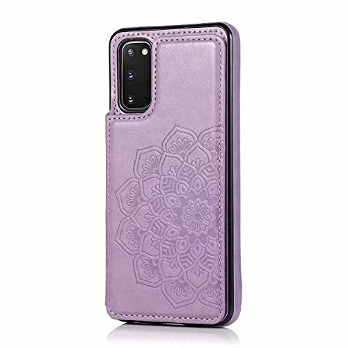 Lijc Compatible con Funda Samsung Galaxy S20 Botón Doble Mandala En Relieve PU Cuero Tarjeta Bolsillos [Ranura para Tarjetas] [Soporte Plegable] Antigolpes Flip Caso-Púrpura