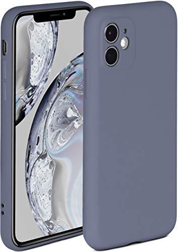 ONEFLOW Soft Hülle kompatibel mit iPhone 11 Hülle aus Silikon, erhöhte Kante für Displayschutz, zweilagig, weiche Handyhülle - matt Blau Grau