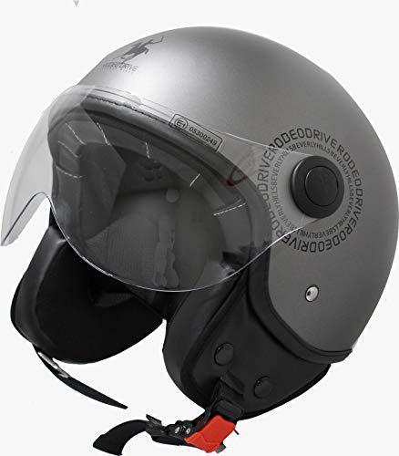 Rodeo Drive RD104N Plus Casco scooter demi jet color, titanio, XL