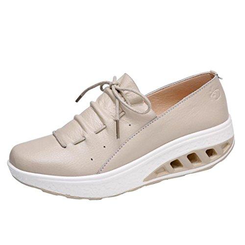 Zapatos de Cuero para Mujer Otoño 2018 Zapatillas Dama con Plataforma PAOLIAN Casual Baratos Cómodo Calzado de Vestir Moda Zapatos de Cordones Señora Breathable