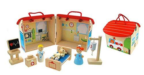 Inware 22789 - Krankenhausset, 11-teilig, aus Holz, Spielset