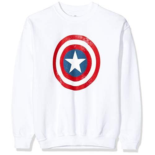 Marvel Avengers Captain America Distressed Shield Felpa, Bianco (White Wht), 7-8 Anni (Taglia Unica: 7-8Y) Bambina