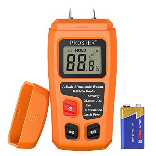 Proster Wood Moisture Meter - Digital Moisture Detector Moisture Tester, Pin-Type Water Leak Detector Damp Tester for Wood Firewood Paper Floor