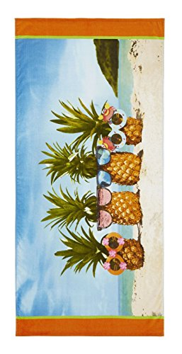 Catherine Lansfield Ananas Strandtuch Multi, Baumwolle, Mehrfarbig, 160 x 76 x 0,4 cm