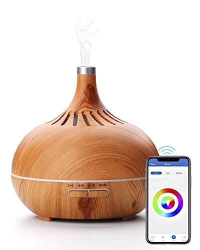 Brilex Humidificador 400ml Ultrasónico Inalámbrico Smart WiFi, Aplicación de Control Funciona con Alexa y Google Home, para Difusor de Aceites Esenciales Aromaterapia la 7 Luces LED… (Amarillo)