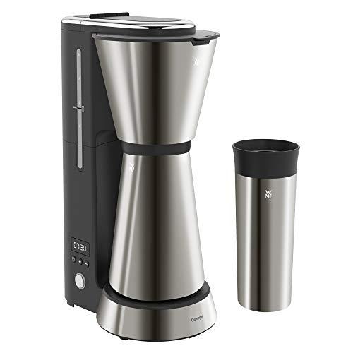 WMF Küchenminis Aroma Filterkaffeemaschine mit Thermoskanne, 870 Watt, Thermobecher to go, kleine Kaffeemaschine Timer, edelstahl matt/graphit