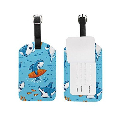 Domoko Cartoon Cute Shark Luggage Tags Travel ID Bag Tag 1 Piece