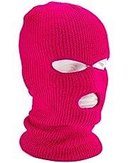 Stickad hel ansiktsmössa med 3 hål vinter varm stickad mössa elastisk skidmössa för utomhussport snowboard motorcykelåkning och vintersport